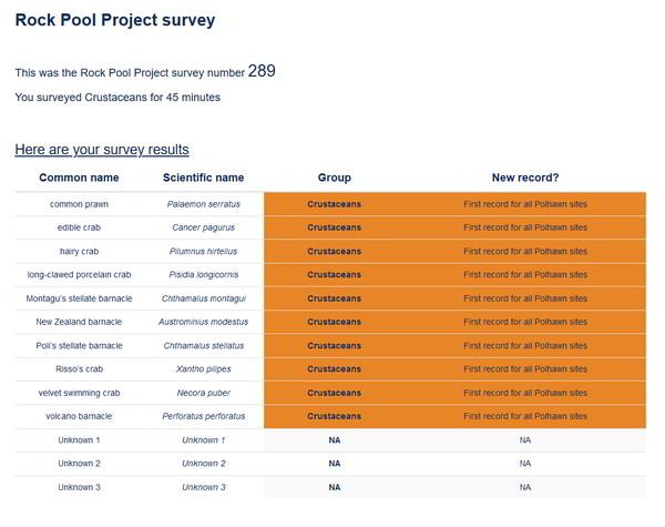 crustacean survey report summary